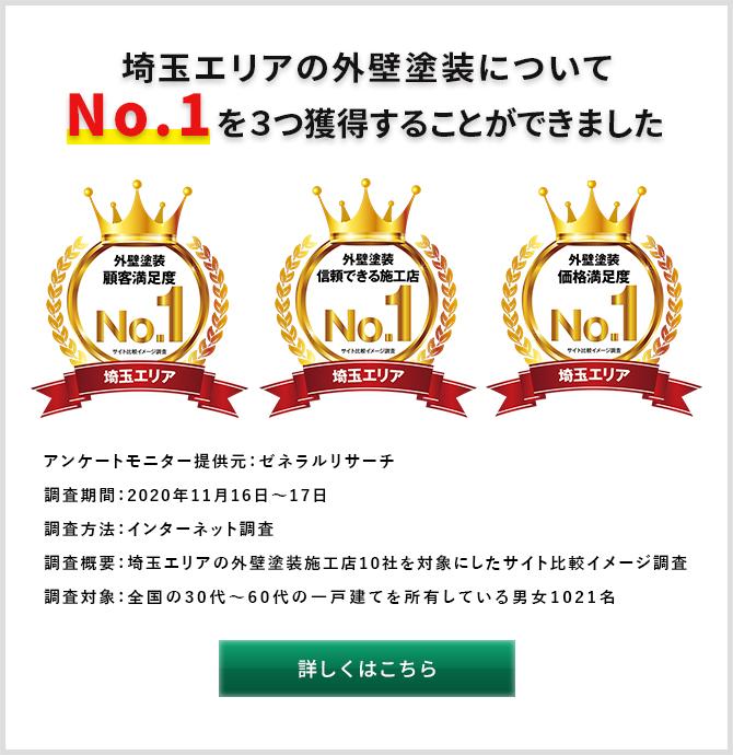 埼玉エリアで3つのNo.1